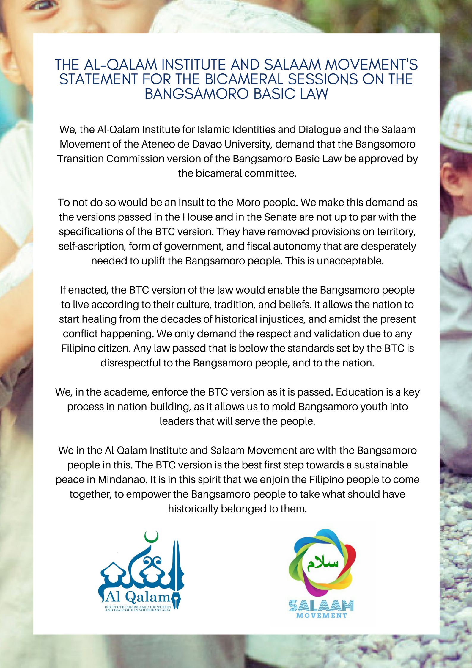 Statement of the Al Qalam Institute on the Bicameral Sessions on the BBL